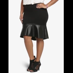 TORRID Black Faux Leather Trumpet Skirt